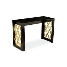Golden Glamour Black Lacquer And Gold Leaf Arabesque Console Table Console/Sofa Tables Ac Glass Furniture, Cool Furniture, Arabesque Pattern, Cool Tables, Pink Walls, Cocktail Tables, Joss And Main, Soft Furnishings, Console Table