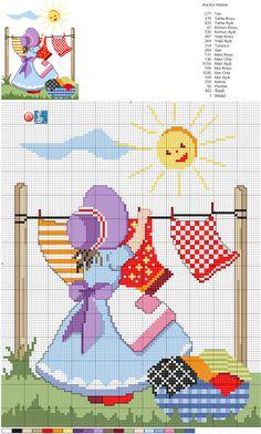 Designed by Filiz Türkocağı. Cross Stitch For Kids, Cross Stitch Baby, Cross Stitch Flowers, Cross Stitch Charts, Cross Stitch Designs, Cross Stitch Patterns, Cross Stitching, Cross Stitch Embroidery, Embroidery Patterns