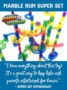 Looking for a way to keep your kids and their friends entertained for hours? The Marble Run Super Set toy by Marble Genius is a guaranteed hit. Marble Toys, Marble Race, Learning Through Play, Fun Learning, Steam Toys, Super Sets, Child Smile, Best Kids Toys, Parent Resources