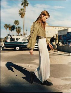 silk shirt and maxi skirt