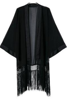 Kimono gasa flecos manga larga-negro 16.01