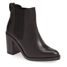 Women's Topshop 'Missile' Chelsea Boot ($125) ❤ liked on Polyvore featuring shoes, boots, botas, zapatos, genuine leather boots, topshop boots, topshop shoes, leather chelsea ankle boots and leather footwear