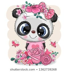 Cartoon Panda with flowers on a white background. Cute Cartoon Panda with flowers on a white background royalty free illustration Cartoon Cartoon, Kids Cartoon Characters, Cute Cartoon Girl, Tatty Teddy, Illustration Mignonne, Cute Illustration, Panda Mignon, Cartoon Mignon, Valentine Cartoon