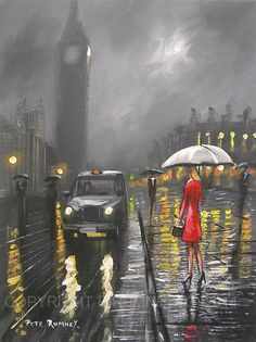 ✿Rainy Day✿ London Rain  ~ art by Pete rumney http://www.pinterest.com/kisha1999/rain-umbrella-art/