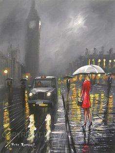 ✿Rainy Day✿ London Rain  ~ art by Pete rumney http://www.pinterest.com/kisha1999/rain-umbrella-art/
