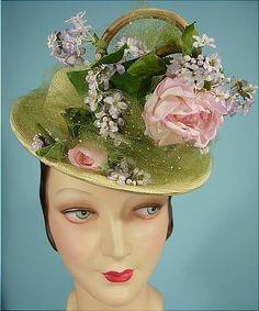 """c.1948 ORIGINAL CASPAR DAVIS Absinthe-Green Straw Hat with Flowers"".  Via Antique Dress #6396"