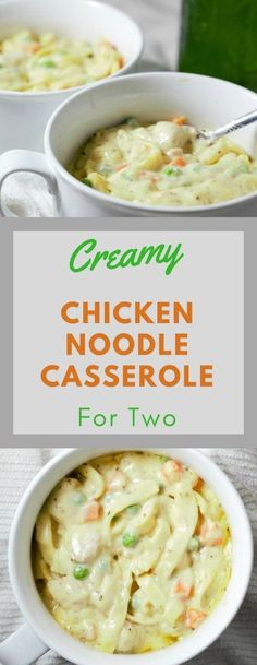 Creamy Chicken Noodle Casserole is the perfect delicious classic comfort food to warm your tummy on a cold day. This casserole is filled with diced chicken, peas, carrots, thick egg noodles, and creamy sauce, all seasoned and baked to perfection. This easy recipe makes a great small batch lunch or dinner for two. #casserole #ChickenNoodle #chicken #DinnerForTwo #LunchForTwo #RecipeForTwo