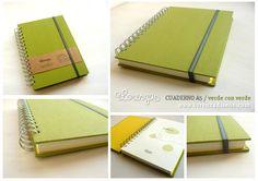 Cuaderno A5 verde con verde