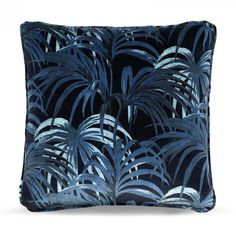 This medium sized cushion is crafted from plush British velvet in a punchy palette of midnight and azure-blue. It features the Palmeral print, House of Hackney's iconic palm leaf design. Rustic Basement Bar, Basement Bar Plans, Underground Bar, Cozy Library, Diy Workshop, Hexagon Tiles, Velvet Cushions, Colour Schemes, Cotton Linen