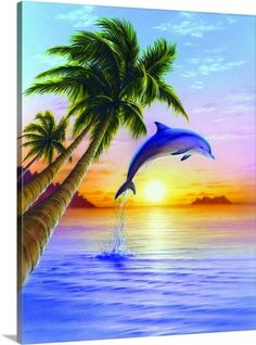 Dolphin Jumping Out of Water at Sunset Tropical Art Scene Poster Print Dolphin Drawing, Dolphin Painting, Dolphin Art, Wall Art Prints, Poster Prints, Art Posters, Dolphin Photos, Dolphins Tattoo, Water Animals