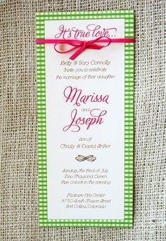 Gingham Country Wedding Invitation with Ribbon, Long: 9 by 4 inches- Modern Design. $3.75, via Etsy.