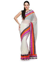 Shop off White Faux Chiffon Saree $85 Only. Based in USA California 1-3 day shipping. Shop online  www.pinkphulkari.com