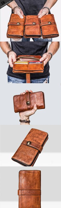Leather Mens Long Wallets Vintage Brown Bifold Long Wallets for Men Handmade long wallet leather men phone clutch vintage wallet forHandmade long wallet leather men phone clutch vintage wallet for Wallet Chain, Long Wallet, Clutch Wallet, Leather Fashion, Leather Men, Brown Leather, Crea Cuir, Madewell Transport Tote, Latest Bags
