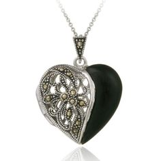 Sterling Silver Genuine Marcasite & Onyx Heart Locket Necklace, 18