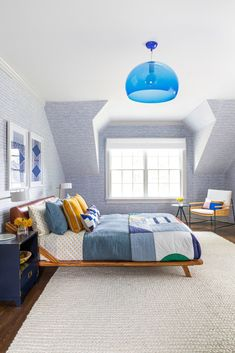 A boy's bedroom by Chango & Co. pairs a queen bed from Crate and Barrel with a bulbous blue light from Hive. The wallpaper is from Holly Hunt. #dwell #howtodesignakidsroom #kidsroom #moderndesign #howto #diy #designtips Custom Furniture, Furniture Design, Boys Bedroom Wallpaper, Boys Room Design, Blue Bedroom, Queen, Kid Beds, Interior Design, Design Art