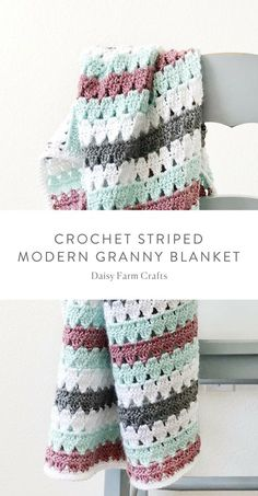 Free Pattern - Crochet Striped Modern Granny Blanket #crochet