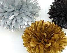 GREAT GATSBY / Great Gatsby Party / new years eve decorations / 5 POMS (Metallic gold, silver, black) / new years wedding