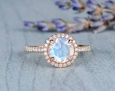 HANDMADE RINGS & BRIDAL SETS by MoissaniteRings on Etsy Classic Engagement Rings, Rose Gold Engagement Ring, Moonstone Jewelry, Rose Gold Jewelry, Bridal Ring Sets, Bridal Rings, Halo Diamond, Diamond Rings, Handmade Rings