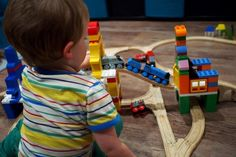 Awesome!  Build creativity with Dreamup Toys by combining wooden trains and LEGO DUPLO.