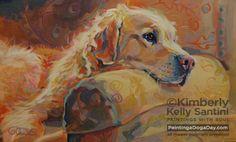 Daydream, original painting by Kimberly Kelly Santini of PaintingaDogaDay.com