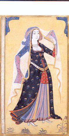 Portrait of a Turkish Lady by Turkish Miniaturist Levni