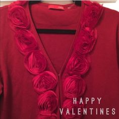 "Red Rose Sweater❤️ NewRed Rose Sweater Size XL has 3"" Roses in Front and around the Back of the Neck It Measures 25"" in Length and the Sleeve from under the Arm-Pit are 17"" in Length 100%  polyester Cyrus Sweaters Cardigans"