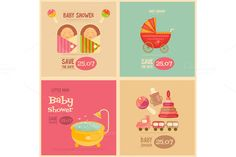 Baby Shower Mini Postes by elfivetrov on Creative Market