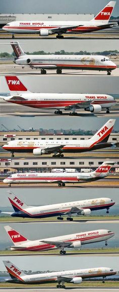 TWA, Some of the aircraft and colour schemes. #TWA #Airline #USA…