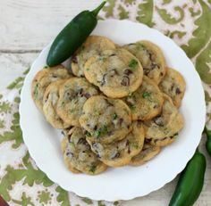 Jalapeno Chocolate Chip Cookies - A sweet ooey, gooey chocolate chip cookie that has a punch of heat from freshly diced jalapeno peppers.