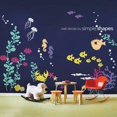 Bajo el mar pared calcomanía colección por SimpleShapes en Etsy, $148.00