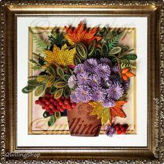 Картина панно рисунок Праздник осени Квиллинг Осенний вальс + МК кленовый лист Бумага Бумажные полосы фото 1