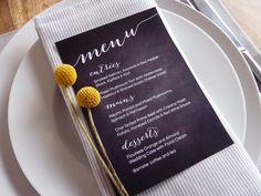 Wedding Menu Printable Custom DIY Chalkboard by WhiteWillowPaper