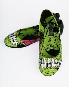 Iron Fist Zombie Stomper Flats - Black/Green (Vegan) - Punk.com