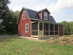 The possibilities with this 18'x24' two-story Dutch cabin with a 6' porch. It's built by The Amish Barn Company in Oneonta, NY.