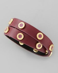 Tory Burch Cole Logo-Studded Leather...