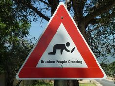 Drunk pedestrians crossing