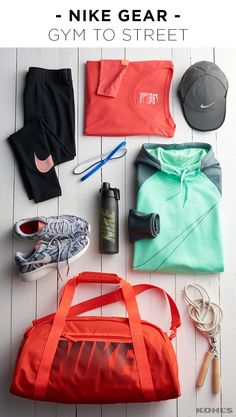 """Get gear that reminds you to just do your workout. Featured product includes: Nike """"just do it"""" long-sleeved graphic tee, sportswear swoosh leggings, Tanjun camo print athletic shoes, six-pack rainbow headband set, graphic Hydro Flow 24-oz. water bottle, swoosh therma training hoodie, 22-in. gym club duffel bag and featherlight baseball cap. Get healthy in 2017 with Kohl's."""