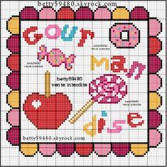 cuisine - kitchen - bonbons - point de croix-cross stitch - broderie-embroidery- Blog : http://broderiemimie44.canalblog.com/