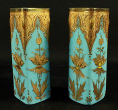 PAIR OF MOSER DECORATED VASES