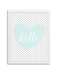 Download and print this free Hello Polka Dot Heart wall art for your home or office!