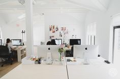 Into The Gloss's Downtown Office - White on white keeps the top floor office feeling bright and productivity inducing. by Homepolish New York City https://www.homepolish.com/mag/into-the-gloss-office-redesign?gallerize=7dd703d9