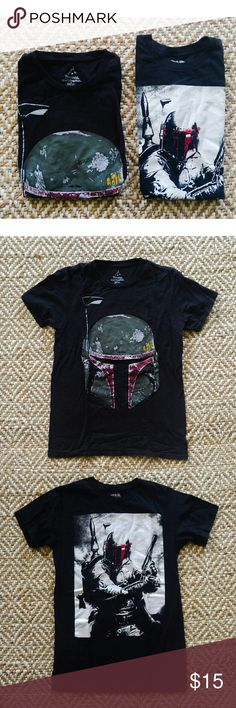 Boba Fett T-shirt bundle 2 Star Wars Boba Fett shirts. The helmet pic one is from disneyland, the other is from Hot Topic, both worn and washed twice Star Wars Tops Tees - Short Sleeve