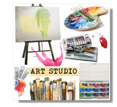 """Art Studio"" by hellodollface ❤ liked on Polyvore featuring interior, interiors, interior design, home, home decor, interior decorating and artstudio"