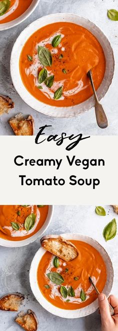 Creamy vegan tomato soup using canned tomatoes and delicious coconut milk to give it the perfect texture and a hint of sweetness. This comforting, easy vegan tomato soup recipe gets a wonderful boost of flavor from caramelized onions and is the perfect lunch or dinner with your favorite crackers, garlic toast and anything your heart desires. #veganrecipe #tomatosoup #vegansoup #coconutmilk #plantbased #dairyfree #healthylunch #healthydinner Vegan Tomato Soup, Tomato Soup Recipes, Vegan Soup, Soup Store, Vegetarian Recipes, Healthy Recipes, Healthy Foods, Healthy Eating, Cooking With Olive Oil