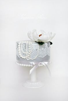 Pearls, Lace, Flower Cake