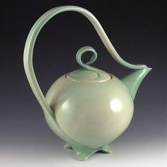 Glossy Celadon Green Teapot\/Curvature Series  jtceramics   Judi Tavill Ceramics: Handmade Sculptural Pottery