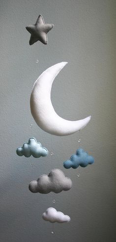 Items similar to Modern Baby - Blue, Gray, White Moon Felt Mobile with Clouds, Star & Crystal Beads - Handmade - Made To Order - Nursery Decor - Choose Color on Etsy Cloud Mobile, Felt Mobile, Baby Decor, Nursery Decor, Nursery Room, Mobiles, White Birch Trees, Vintage Sweets, Diy Bebe