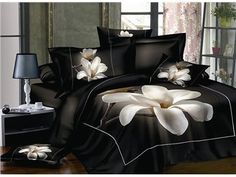 3D White Magnolia Printed Cotton 4-Piece Bedding Sets
