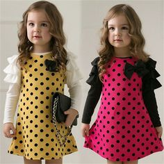 >> Click to Buy << New Girl Dress Spring Autumn bow princess dress Children clothes Dot long sleeve 2 colors dresses 1pcs retail free shipping #Affiliate