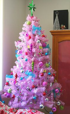 Pink Christmas Tree. I've got one! I even have a forest of three trees in my living room. This makes the guests kind of gasp!